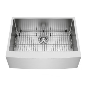 "VIGO 30"" Bedford Stainless Steel Farmhouse Kitchen Sink, With Grid And Strainer"