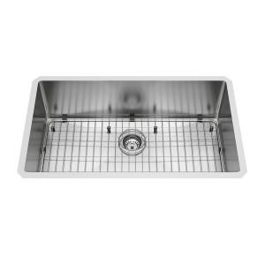 """VIGO 32"""" Mercer Stainless Steel Undermount Kitchen Sink, With Grid And Strainer"""