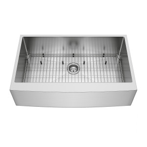 "VIGO 36"" Bedford Stainless Steel Farmhouse Kitchen Sink, With Grid And Strainer"