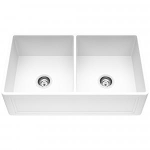 VIGO 33-Inch Double Bowl Crown Apron Front Matte Stone Farmhouse Kitchen Sink