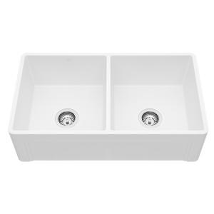 """VIGO 33"""" Casement Front Matte Stone Double Bowl Farmhouse Kitchen Sink"""