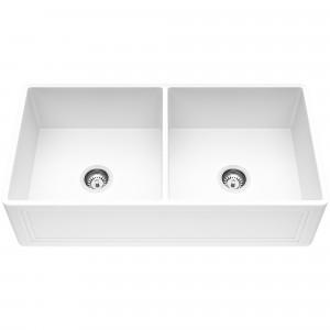 VIGO 36-Inch Double Bowl Crown Apron Front Matte Stone Farmhouse Kitchen Sink