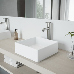 VIGO Dianthus Matte Stone Vessel Bathroom Sink Set With Seville Vessel Faucet In Brushed Nickel