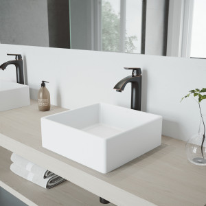 VIGO Dianthus Matte Stone Vessel Bathroom Sink Set And Linus Vessel Faucet Set In Antique Rubbed Bronze