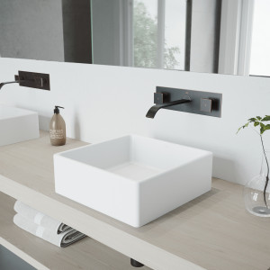 VIGO Dianthus Matte Stone Vessel Bathroom Sink Set With Titus Wall Mount Faucet In Antique Rubbed Bronze