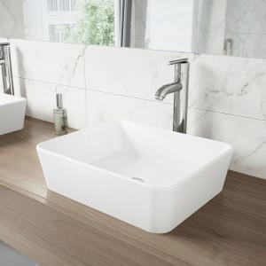 VIGO Marigold Matte Stone Vessel Bathroom Sink Set With Seville Vessel Faucet In Chrome