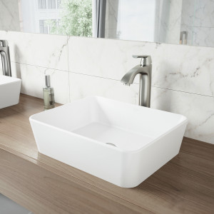 VIGO Marigold Matte Stone Vessel Bathroom Sink Set With Linus Vessel Faucet In Brushed Nickel