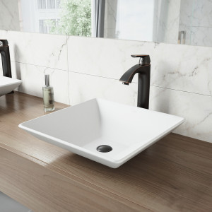 VIGO Hibiscus Matte Stone Vessel Bathroom Sink Set With Linus Vessel Faucet In Antique Rubbed Bronze