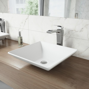 VIGO Hibiscus Matte Stone Vessel Bathroom Sink Set With Blackstonian Vessel Faucet In Chrome