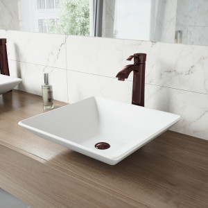 VIGO Hibiscus Matte Stone Vessel Bathroom Sink Set With Otis Vessel Faucet In Oil Rubbed Bronze