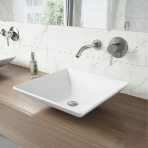 VIGO Hibiscus Matte Stone Vessel Bathroom Sink Set With Olus Wall Mount Faucet In Brushed Nickel
