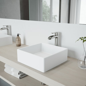 VIGO Dianthus Matte Stone Vessel Bathroom Sink Set With Niko Vessel Faucet In Brushed Nickel