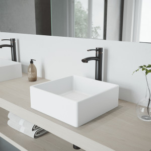 VIGO Dianthus Matte Stone Vessel Bathroom Sink Set With Milo Vessel Faucet In Antique Rubbed Bronze