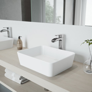 VIGO Marigold Matte Stone Vessel Bathroom Sink Set With Niko Vessel Faucet In Chrome
