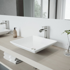 VIGO Hibiscus Matte Stone Vessel Bathroom Sink Set With Niko Vessel Faucet In Brushed Nickel