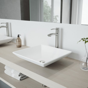 VIGO Hibiscus Matte Stone Vessel Bathroom Sink Set With Milo Vessel Faucet In Brushed Nickel