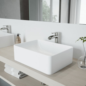VIGO Amaryllis Matte Stone Vessel Bathroom Sink Set With Niko Vessel Faucet In Brushed Nickel