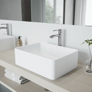 VIGO Amaryllis Matte Stone Vessel Bathroom Sink Set With Milo Vessel Faucet In Chrome
