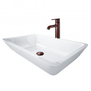 VIGO Edith Phoenix Stone Vessel Bathroom Sink Set With Seville Vessel Faucet In Oil Rubbed Bronze