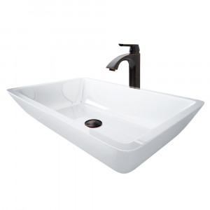 VIGO Edith Phoenix Stone Vessel Bathroom Sink Set With Linus Vessel Faucet In Antique Rubbed Bronze