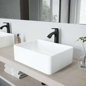 VIGO Amaryllis Matte Stone Vessel Bathroom Sink Set With Linus Vessel Faucet In Matte Black
