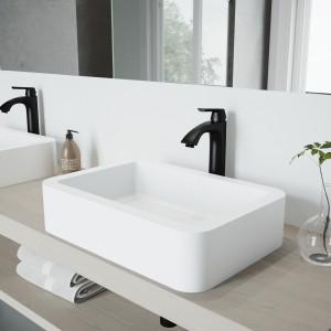 VIGO Petunia Matte Stone Vessel Bathroom Sink Set With Linus Vessel Faucet In Matte Black