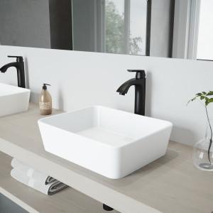 VIGO Marigold Matte Stone Vessel Bathroom Sink Set With Linus Vessel Faucet In Matte Black