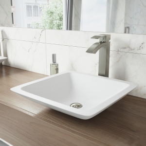 VIGO Begonia Matte Stone Vessel Bathroom Sink Set With Duris Vessel Faucet In Brushed Nickel