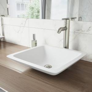VIGO Begonia Matte Stone Vessel Bathroom Sink Set With Seville Vessel Faucet In Brushed Nickel