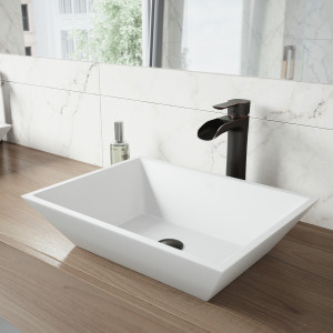 VIGO Vinca Matte Stone Vessel Bathroom Sink Set With Niko Vessel Faucet In Antique Rubbed Bronze