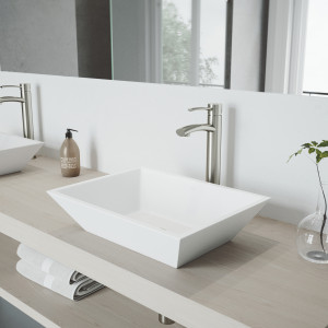 VIGO Vinca Matte Stone Vessel Bathroom Sink Set With Milo Vessel Faucet In Brushed Nickel