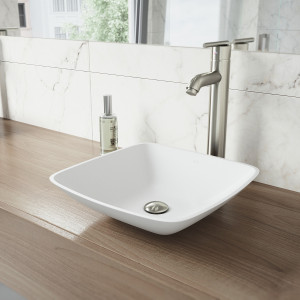 VIGO Hyacinth Matte Stone Vessel Bathroom Sink Set With Seville Vessel Faucet In Brushed Nickel