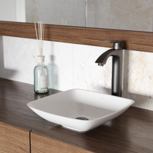 VIGO Hyacinth Matte Stone Vessel Bathroom Sink Set With Linus Vessel Faucet In Antique Rubbed Bronze