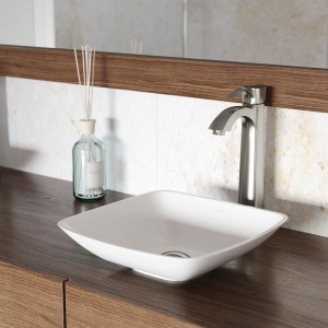 VIGO Hyacinth Matte Stone Vessel Bathroom Sink Set With Otis Vessel Faucet In Brushed Nickel