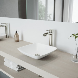 VIGO Hyacinth Matte Stone Vessel Bathroom Sink Set With Niko Vessel Faucet In Brushed Nickel