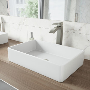 VIGO Magnolia Matte Stone Vessel Bathroom Sink Set With Duris Vessel Faucet In Brushed Nickel