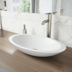 VIGO Wisteria Matte Stone Vessel Bathroom Sink Set With Seville Vessel Faucet In Brushed Nickel