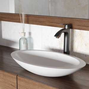 VIGO Wisteria Matte Stone Vessel Bathroom Sink Set With Linus Vessel Faucet In Antique Rubbed Bronze