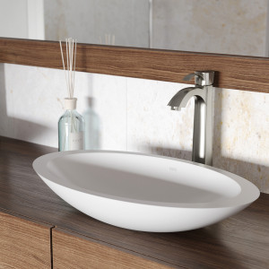 VIGO Wisteria Matte Stone Vessel Bathroom Sink Set With Otis Vessel Faucet In Brushed Nickel