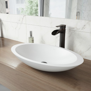 VIGO Wisteria Matte Stone Vessel Bathroom Sink Set With Niko Vessel Faucet In Antique Rubbed Bronze
