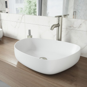VIGO Peony Matte Stone Vessel Bathroom Sink Set With Seville Vessel Faucet In Brushed Nickel