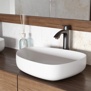 VIGO Peony Matte Stone Vessel Bathroom Sink Set With Linus Vessel Faucet In Antique Rubbed Bronze