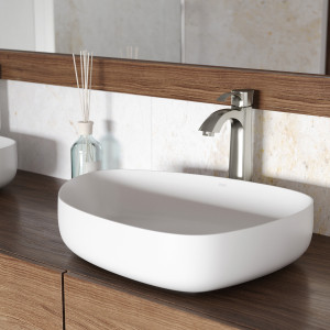 VIGO Peony Matte Stone Vessel Bathroom Sink Set With Otis Vessel Faucet In Brushed Nickel