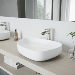 VIGO Peony Matte Stone Vessel Bathroom Sink Set With Niko Vessel Faucet In Brushed Nickel