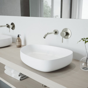 VIGO Peony Matte Stone Vessel Bathroom Sink Set With Olus Wall Mount Faucet In Brushed Nickel