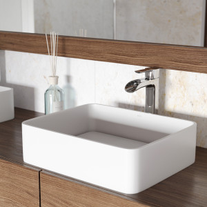 VIGO Jasmine Matte Stone Vessel Bathroom Sink Set With Niko Vessel Faucet In Chrome