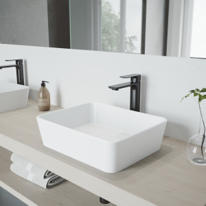 VIGO Marigold Matte Stone Vessel Bathroom Sink with Norfolk Faucet in a Matte Black Finish, Pop-Up Drain Included