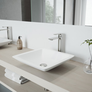 VIGO Begonia Matte Stone Vessel Bathroom Sink with Norfolk Faucet in a Brushed Nickel Finish, Pop-Up Drain Included