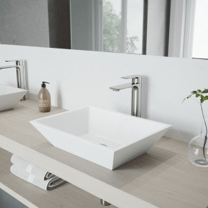 VIGO Vinca Matte Stone Vessel Bathroom Sink with Norfolk Faucet in a Brushed Nickel Finish, Pop-Up Drain Included