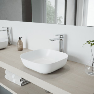 VIGO Camellia Matte Stone Vessel Bathroom Sink with Norfolk Faucet in a Chrome Finish, Pop-Up Drain Included